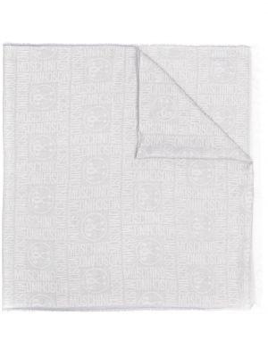 Biały szalik z jedwabiu z printem Moschino