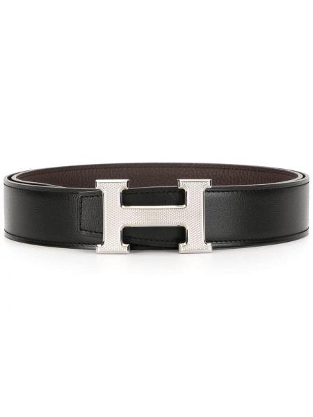 Парусиновый черный ремень винтажный двусторонний Hermès