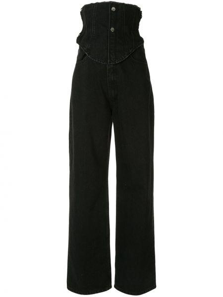 Широкие джинсы черные на пуговицах Ground Zero