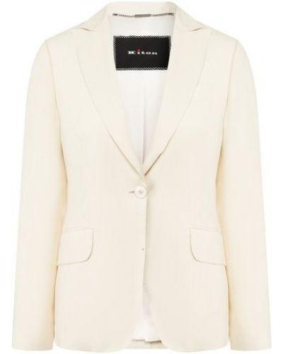 Шелковый белый пиджак с подкладкой с лацканами Kiton
