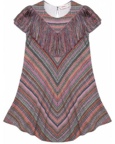 Платье мини трикотажное с бахромой Missoni