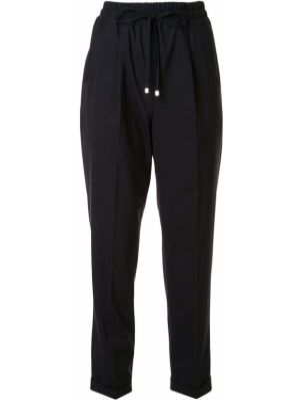 Шерстяные синие укороченные брюки с карманами Kiton