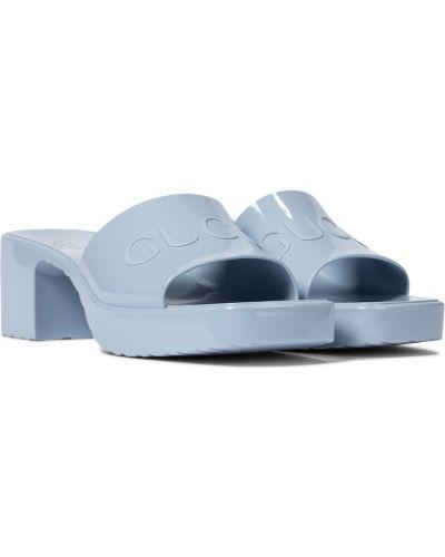 Niebieski sandały na klinie Gucci