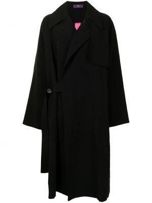 Черное длинное пальто оверсайз на пуговицах Y's
