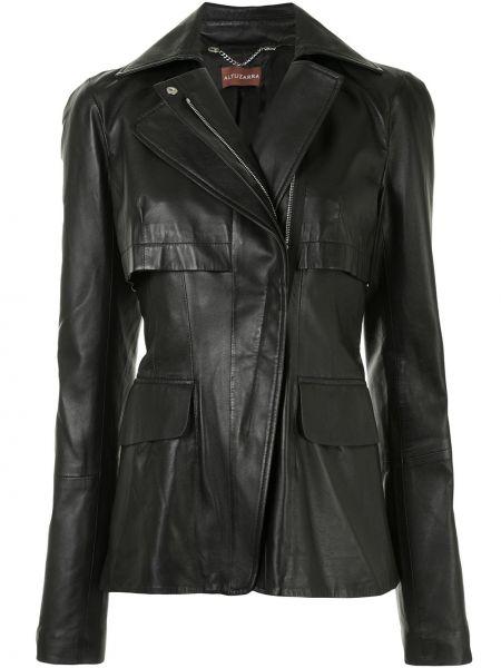 Кожаная приталенная черная куртка на молнии Altuzarra
