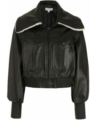 Черная кожаная короткая куртка на молнии Nk