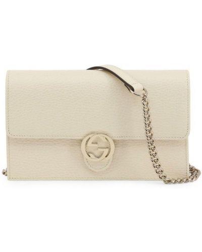 Złota biała torba na ramię zapinane na guziki Gucci