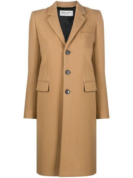 Коричневое кашемировое длинное пальто с карманами Saint Laurent