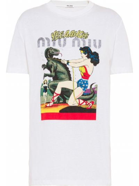 Хлопковая белая футболка с круглым вырезом с короткими рукавами Miu Miu