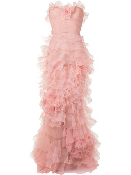 С рукавами розовое вечернее платье с оборками Marchesa