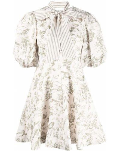 Льняное белое платье в цветочный принт Zimmermann