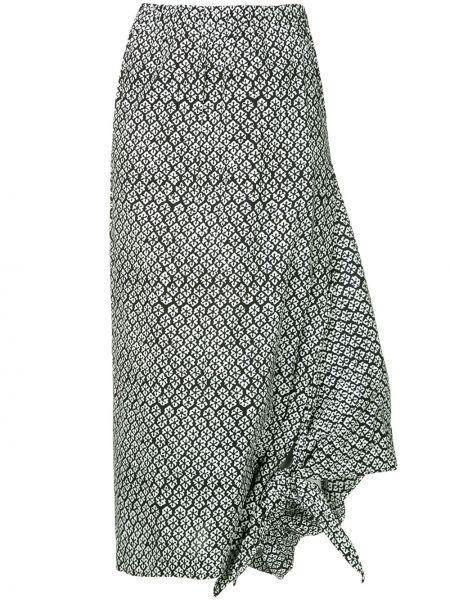 Черная юбка миди с поясом винтажная в рубчик Junya Watanabe Comme Des Garçons Pre-owned