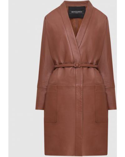 Коричневое кожаное пальто Simonetta Ravizza