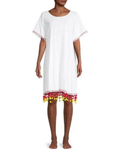 Хлопковое белое платье-рубашка с короткими рукавами Pitusa