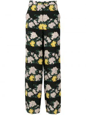 Czarne spodnie z jedwabiu z printem Rochas