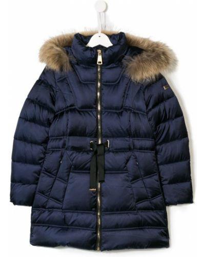 Длинное пальто синее пуховое Treapi