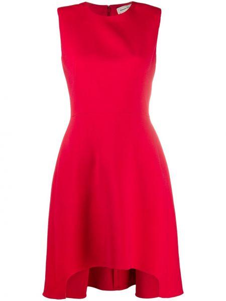 Шелковое красное платье с вырезом Alexander Mcqueen