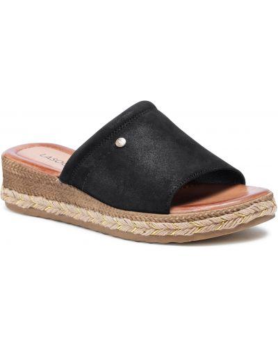 Czarne sandały espadryle skorzane Lasocki