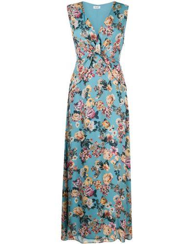 Niebieski długo sukienka z wiskozy z dekoltem w szpic Liu Jo
