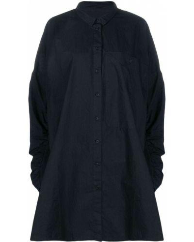 Темно-синее прямое классическое платье макси с воротником Rundholz Black Label