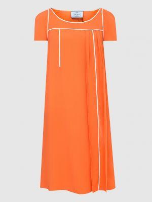 Оранжевое платье миди Prada