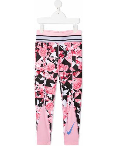 Розовые леггинсы эластичные без застежки Nike Kids