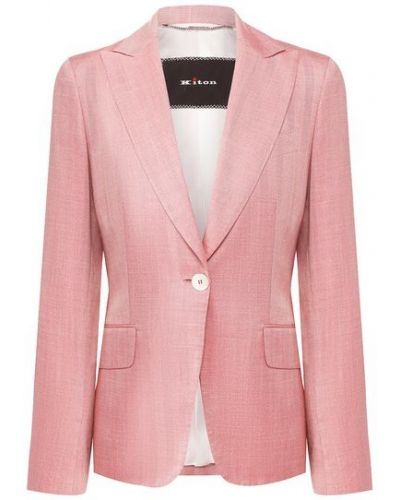 Розовый приталенный пиджак с подкладкой с лацканами Kiton