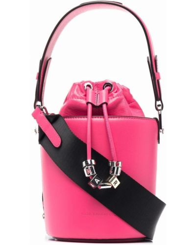 Różowy kapelusz skórzany Karl Lagerfeld