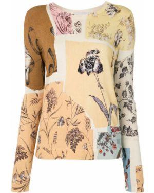 Белый тонкий длинный свитер с вырезом Oscar De La Renta