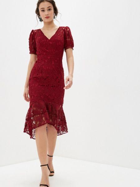 Платье бордовый прямое Chi Chi London