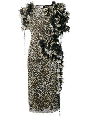 Czarna sukienka mini krótki rękaw z printem Antonio Marras