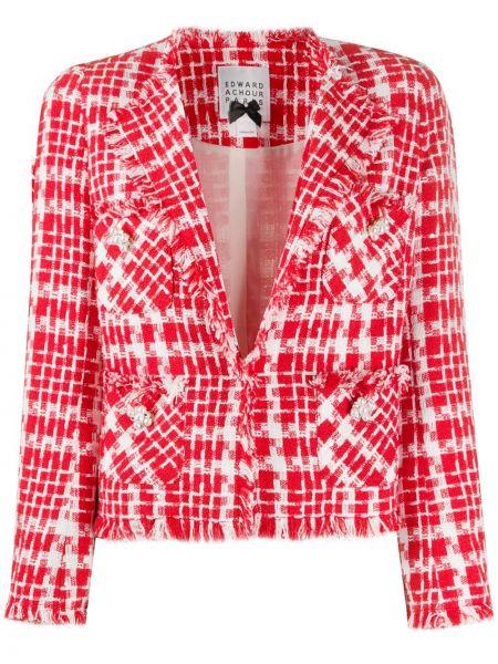Белый удлиненный пиджак с накладными карманами с вышивкой Edward Achour Paris