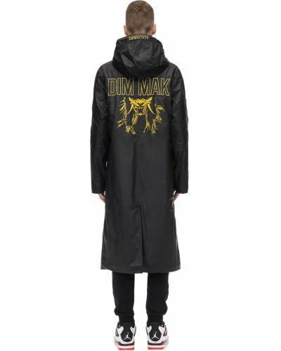 Żółty płaszcz przeciwdeszczowy z kapturem z haftem Dim Mak Collection