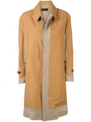 Коричневое пальто классическое с капюшоном с воротником Undercover