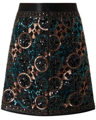 Czarna spódnica mini rozkloszowana z cekinami S.oliver Black Label