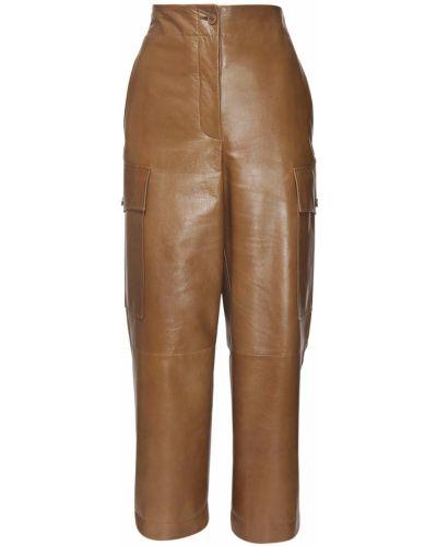 Skórzany z wysokim stanem przycięte spodnie bezpłatne cięcie z kieszeniami Givenchy
