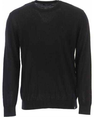 Czarny sweter bawełniany z długimi rękawami Guess