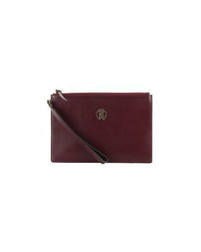 Клатч-конверт на молнии красный Roberto Cavalli