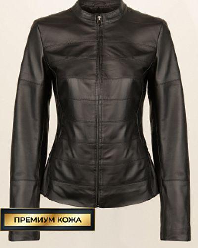 Черная кожаная куртка на молнии каляев