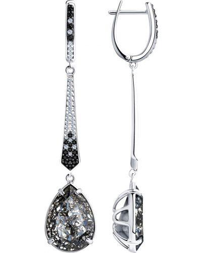 Серебряные серьги удлиненные серебряный Sokolov