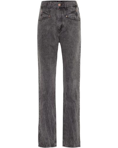 Bawełna prosto bawełna czarny jeansy na wysokości Isabel Marant