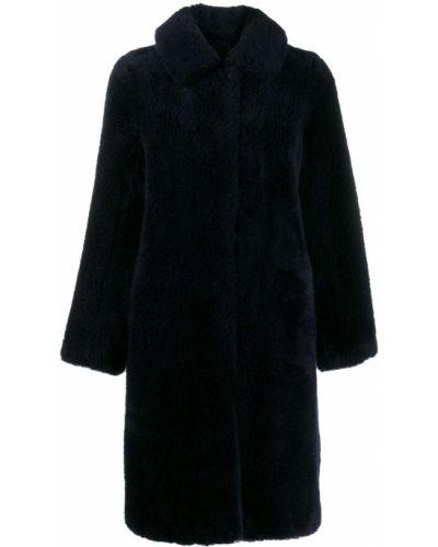 Синее длинное пальто с капюшоном Yves Salomon Meteo