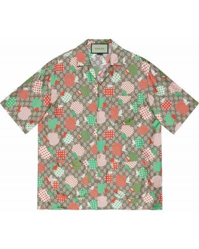 Koszula z jedwabiu - beżowa Gucci