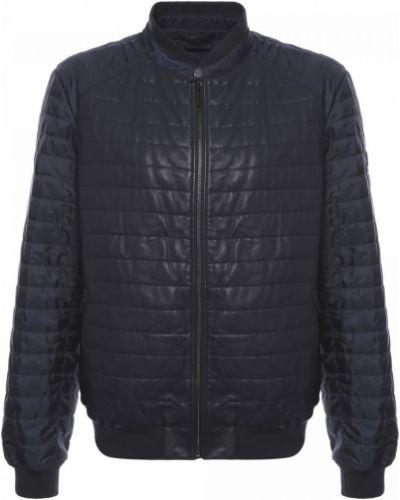 Синяя кожаная куртка Baldinini