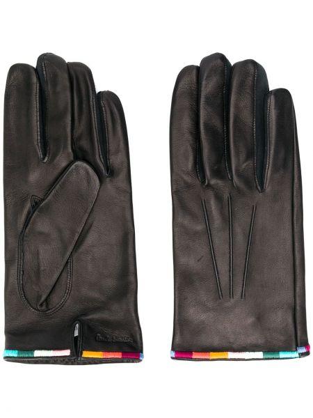 Czarny skórzany rękawiczki z haftem Paul Smith