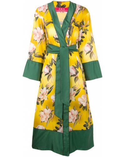 Желтое длинное пальто с капюшоном F.r.s For Restless Sleepers