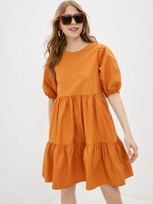 Оранжевое прямое платье А-силуэта Koton