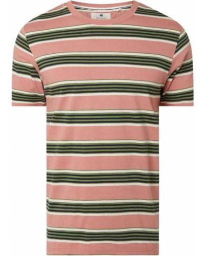 Różowy t-shirt w paski bawełniany Anerkjendt