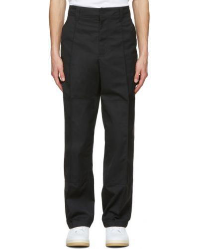 Czarne spodnie skorzane z paskiem Acne Studios