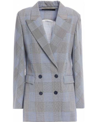 Черный пиджак в клетку двубортный Roland Mouret